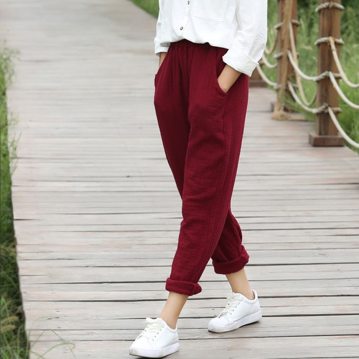 Elastic waist Solid Cotton Women Harem Pants Black White Red Yellow Casual Harem Pants Summer Street Brand Design Trousers 5075-in Pants & Capris from Women's Clothing & Accessories on Aliexpress.com | Alibaba Group