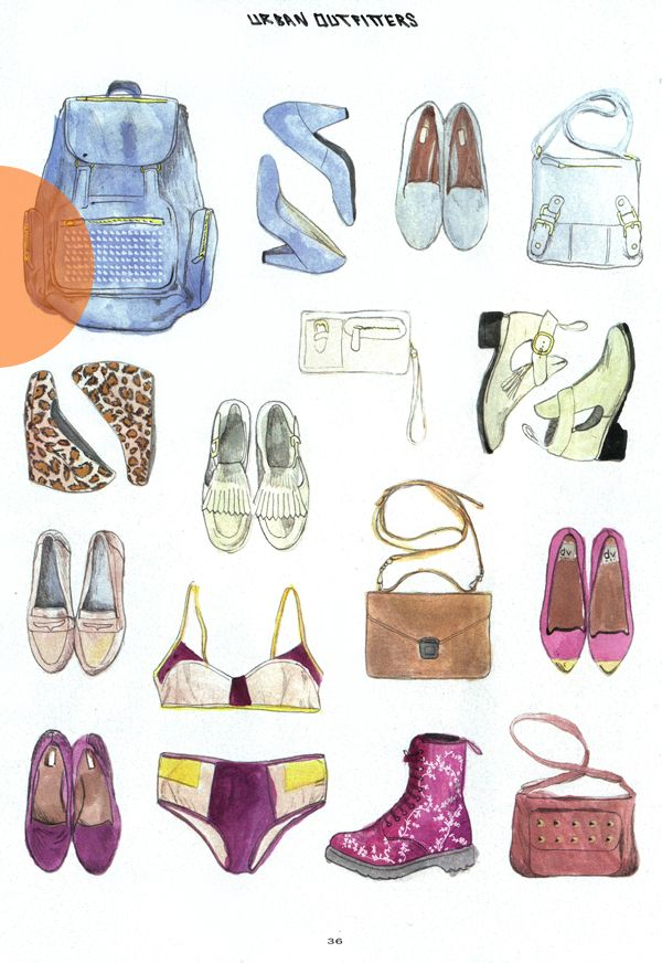 Watercolor clothing & accessories  sketches by Urban Outfitters #dresscolorfully