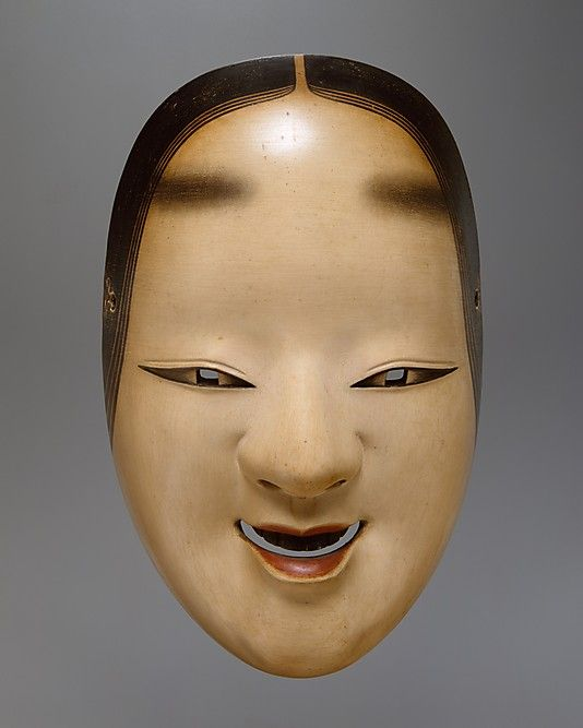 Ko-omote Mask for a Noh Drama  Period: Edo period (1615–1868) Date: 18th century Culture: Japan Medium: Painted cypress wood Dimensions: W. 5 1/2 in. (14 cm); L. 8 1/2 in. (21.6 cm) Classification: Mask