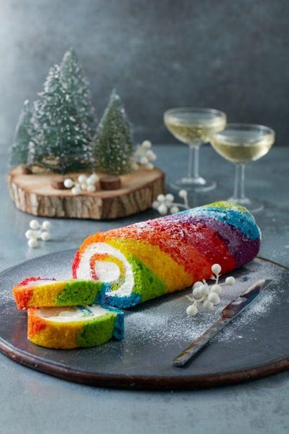 Rainbow Yule Log Photo: Danille Wood Rainbow Bakes Mima Sinclair