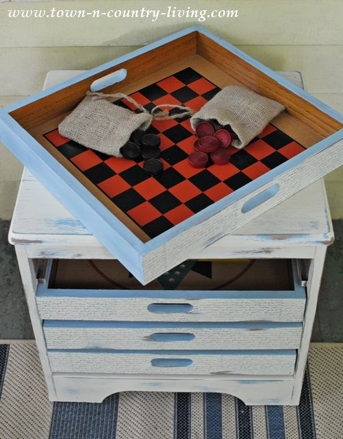 Game Table Rescued From The Roadside   Painted In Annie Sloan Chalk Paint