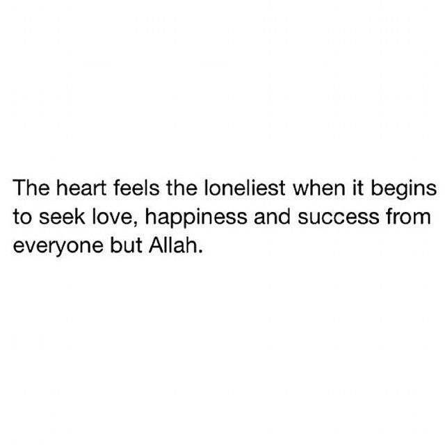 """The heart feels the loneliest when it begins to seek love, happiness, and success from everyone but Allah Subhanahu wa Ta'ala."""