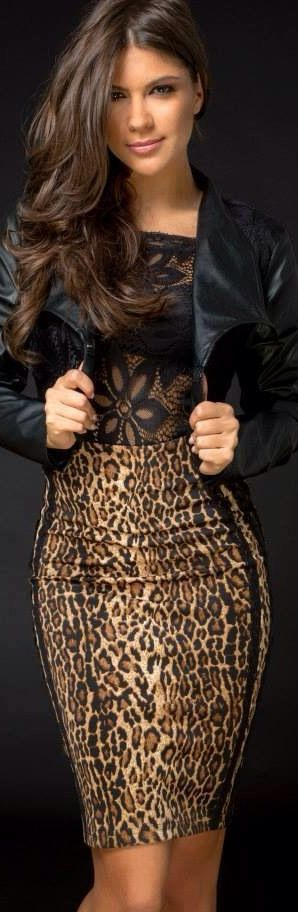 leopard with perfect black leather touch