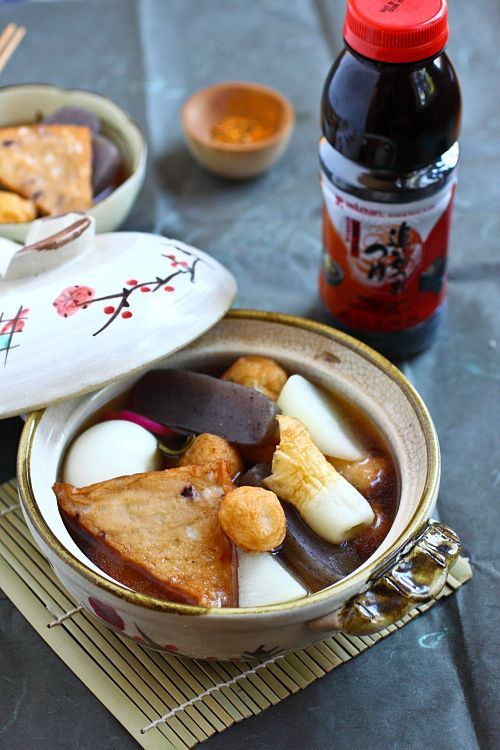 "Oden - One of my favorite fall/winter recipes is Oden, a Japanese stew or ""hot pot"" made of dashi stock and an assortment of Japanese fish balls and fish cakes. Oden is my must-order item at my favorite izakaya—a seasonal dish available during the fall and winter months. #Japanese #stew #fish"