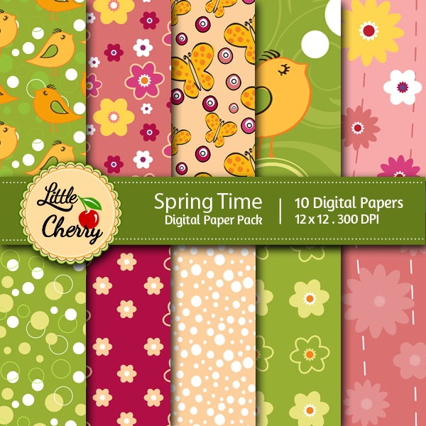 Spring Time    This listing is for 10 printable High Quality Digital papers.    Each paper measures 12 x 12 inch, 300 DPI, JPEG format.    Great for book and photo album covers, gift wraps, bookmarks, scrapbooking, invitations and making cards, stationary, labels and tags,j ewelry, collages, stickers, photographers.    Keywords: Modern, Royal, Polka Dots, Plaid, Flowers, Pink, Green, Pastel, Baby, Spring, Summer, Banner, Strips, Sweet, Treat Scrapbooking Paper, Digital Papers, Printable…