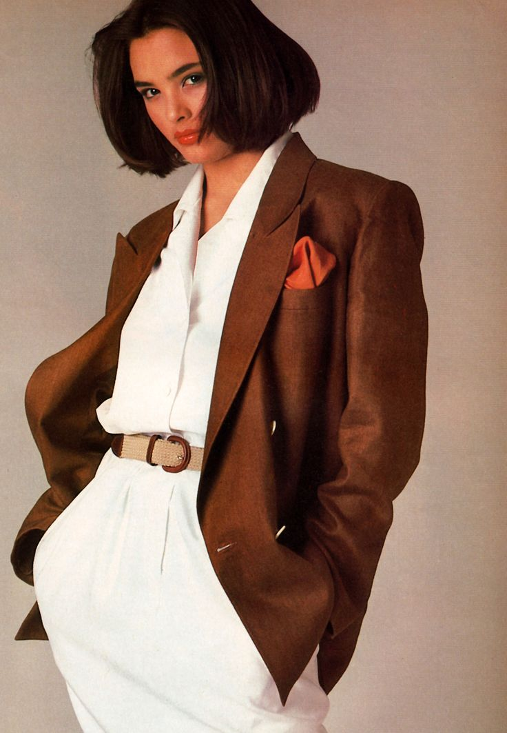 Patrick Demarchelier for Mademoiselle magazine, June 1985. Clothing by Anne Klein.