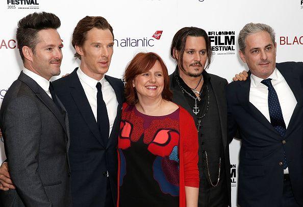 L to R Director Scott Cooper Benedict Cumberbatch Festival Director Clare Stewart Johnny Depp and producer John Lesher attend the 'Black Mass' Virgin...