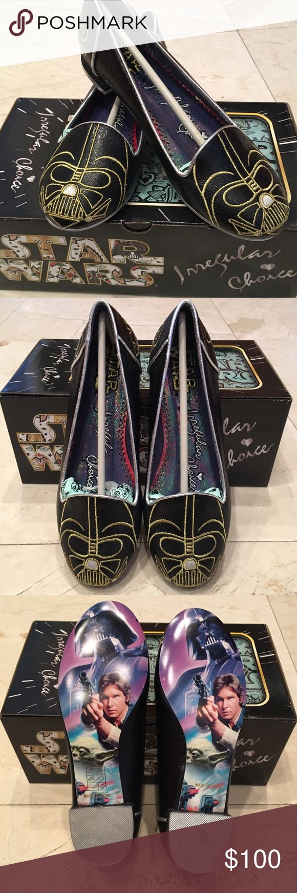 "Irregular Choice Star Wars Flats Darth Vader Flats - Limited Edition •Officially-licensed Star Wars merchandise  •Darth Vader's helmet embroidered in gold on both toes •""Star"" embroidered in gold on one heel and the word ""Wars"" on the other •Silver edge dressing with glitter on the heel itself •Iridescent inner •Full-color classic images on the sole They paid attention to all the details - even the tissue paper is Star-Wars-inspired Materials: Black metallic PU  Heel height: 0.7"" (flats)…"