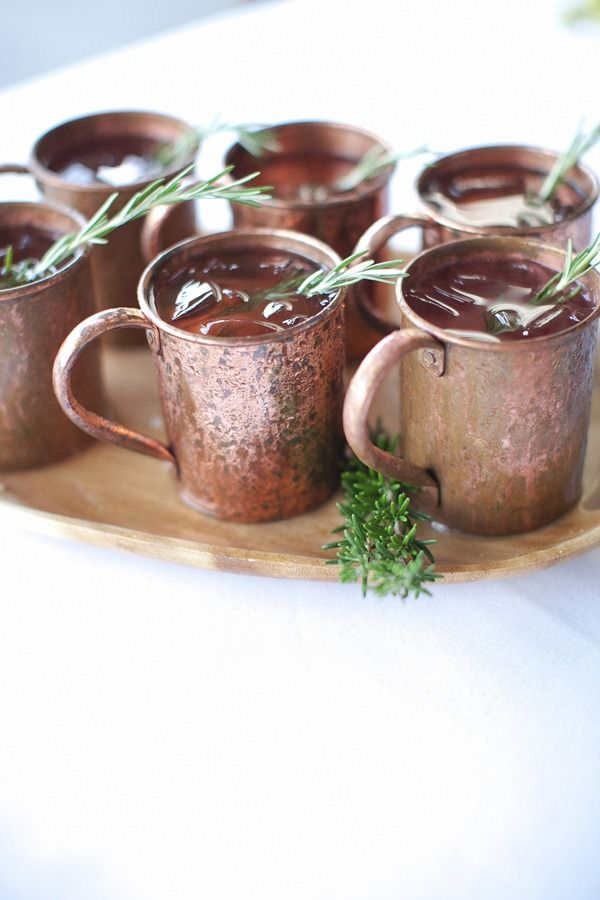 mulled apple cider in moscow mule mugs