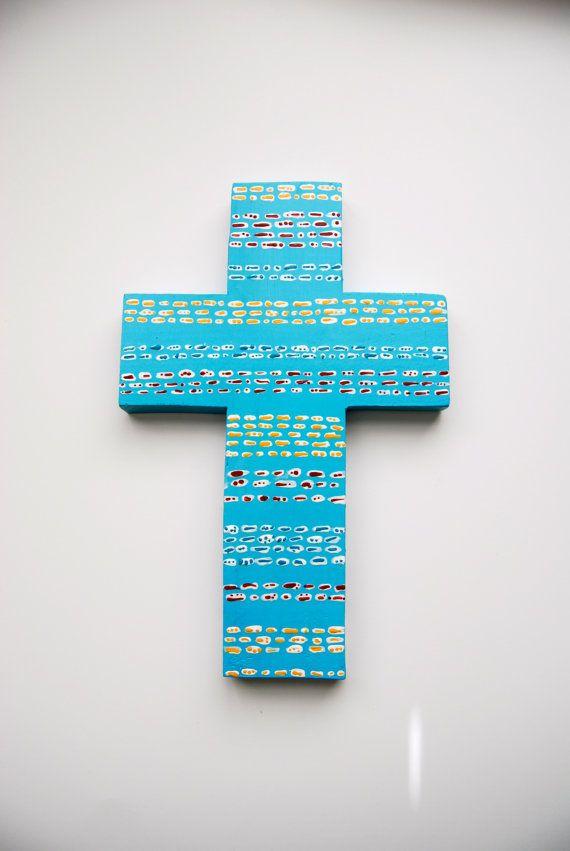 Деревянный Ручной Росписью Крест, Blue Cross, Христианское Искусство