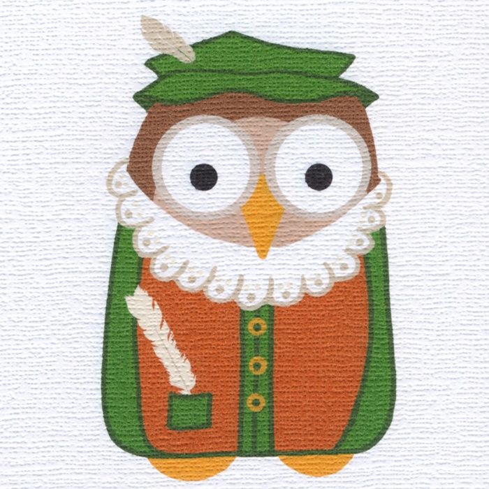 """""""Shakespeare Owl"""" another of Helen's whimsical creations, suitable for many occasions. Blank inside"""