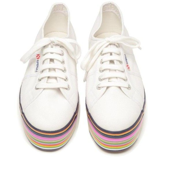 HOUSE OF HOLLAND Superga 2790 Striped Platform Trainers (130 AUD) ❤ liked on Polyvore featuring shoes, sneakers, platform tennis shoes, white platform sneakers, tennis shoes, white sneakers and white shoes