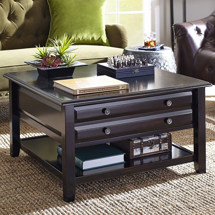 Ordinaire Anywhere Rubbed Black Square Coffee Table With Knobs