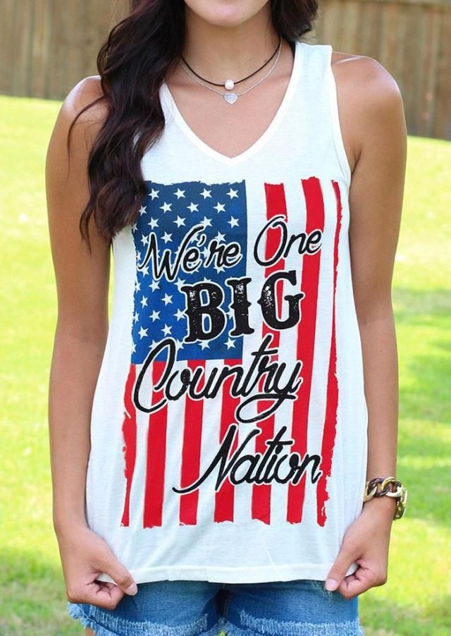 Uhren & Schmuck Tankinis Women 2019 Daily Womens Explosion Sleeveless Loose Vest Patriotic Stripes Love Print American Flag Print Tank Top