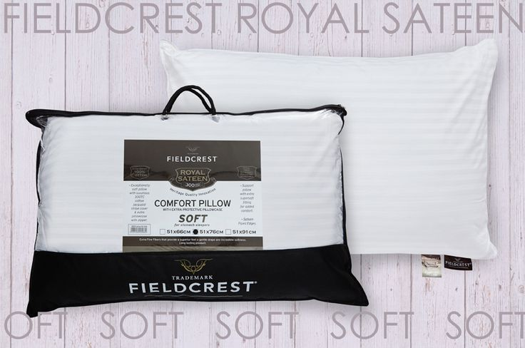 Pillow FIELDCREST Royal Sateen siliconized micromax filling 100% Cotton 300TC with extra separate Pillowcase.Soft for stomach sleepers.