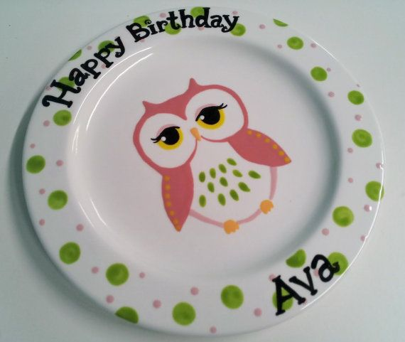 hand painted ceramic owl birthday plate 8 by