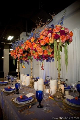 tall orange floral centerpieces
