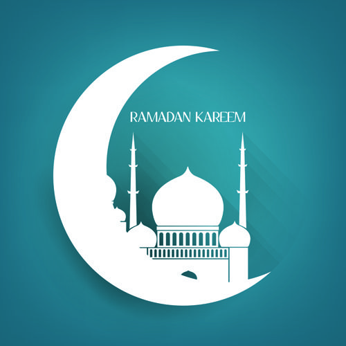 Creative Islamic mosque vector background material 02