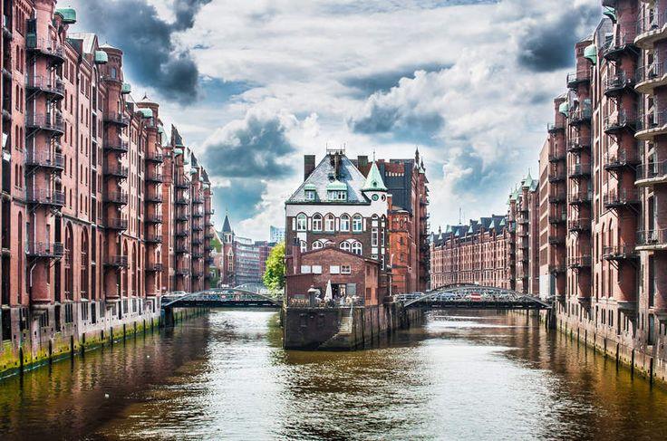 Bairro de Speicherstadt em Hamburgo, na Alemanha