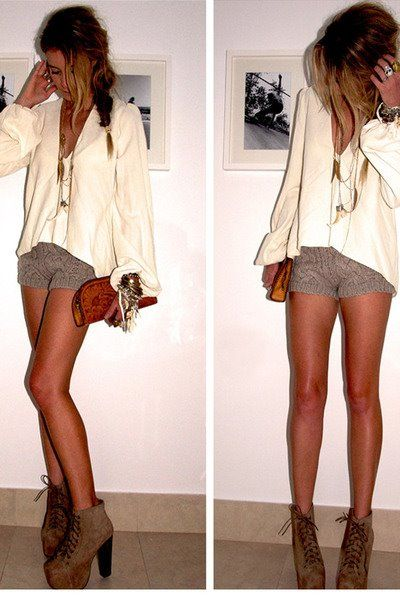 boho + beautiful i love textured shorts, they look so feminine & i adore extra long necklaces to complete almost any outfit