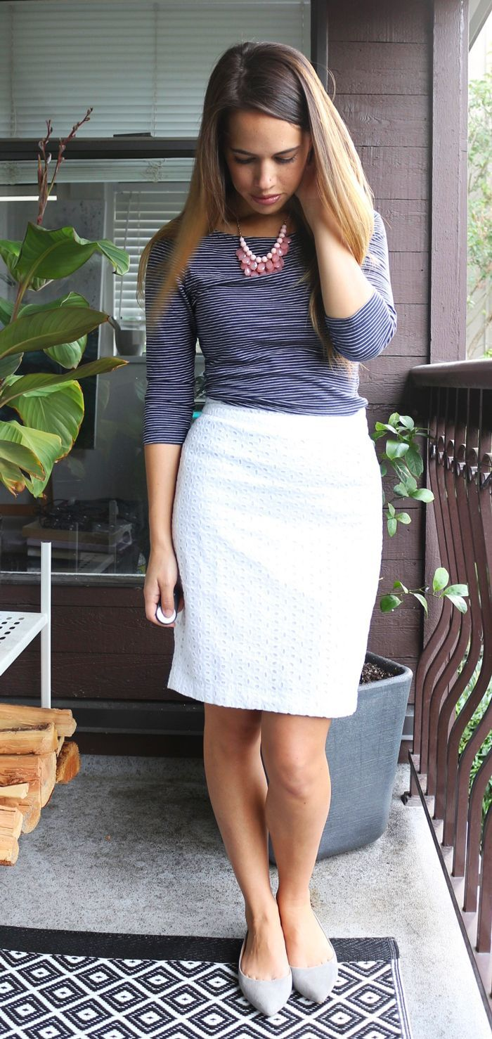 Jules in Flats September Outfit - H&M Striped Top, Forever 21 Pencil Skirt