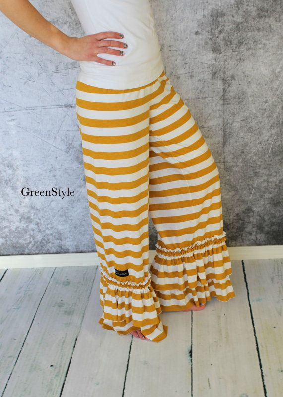 Instant Download Greenstyle Willow Ruffle Pant Sewing PDF Pattern in Teen and Women's Sizes With Yoga Waist Band Option -- Wonder if I could make these?!  SO cute!!