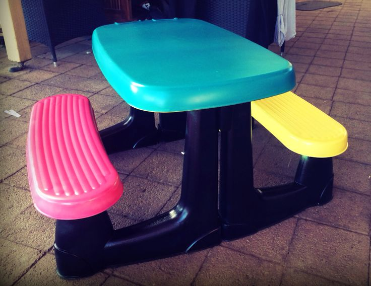 Spray painted plastic kids picnic table
