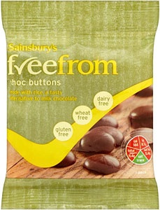 Sainsbury's freefrom Chocolate Buttons (25g).