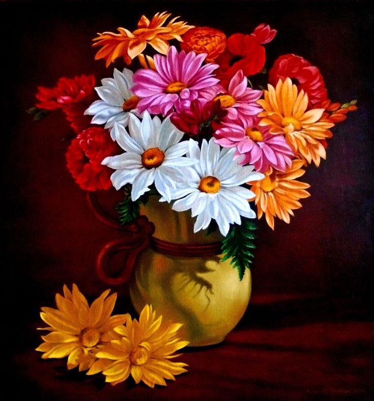 Bukiet kwiatów w dzbanku, 44cm x 41cm, Obraz olejny na płótnie