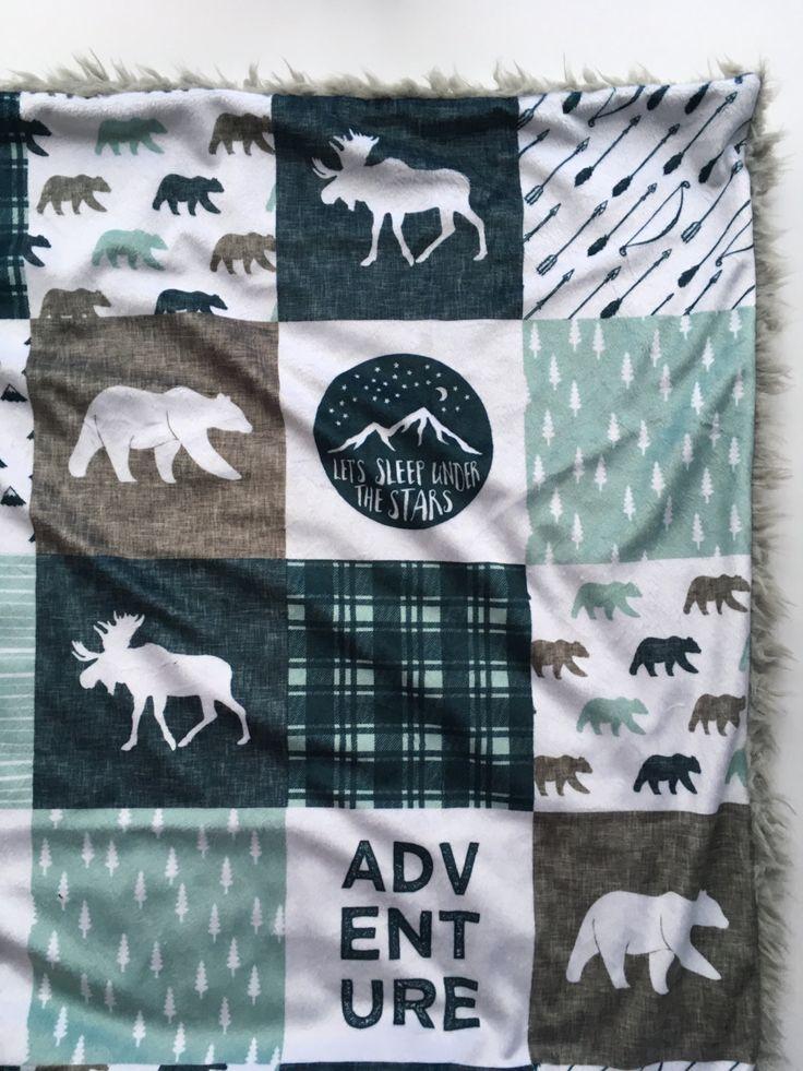 Adventure Woodland baby blanket, mint gray navy Woodland Blanket, Woodland Nursery, GenderNeutral Baby Shower Gift, moose bear buffalo chec by DwellDarling on Etsy