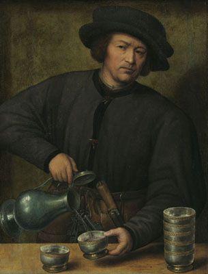 Joos van Cleve (toegeschreven aan) : Portret van een wijnschenker