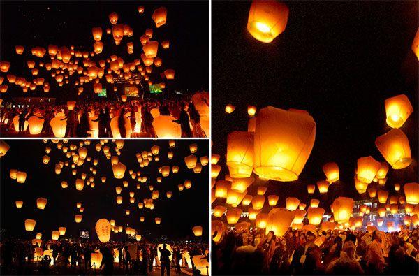 sky lanterns ou lanternes thailandaises célestes