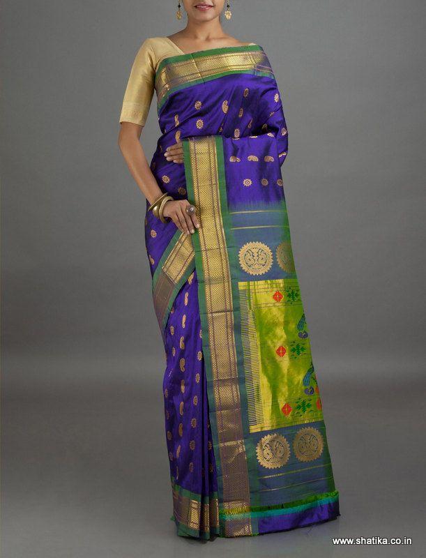 Mala Regal Paisley and Flower Motifs Pure Zari #PaithaniSilkSaree