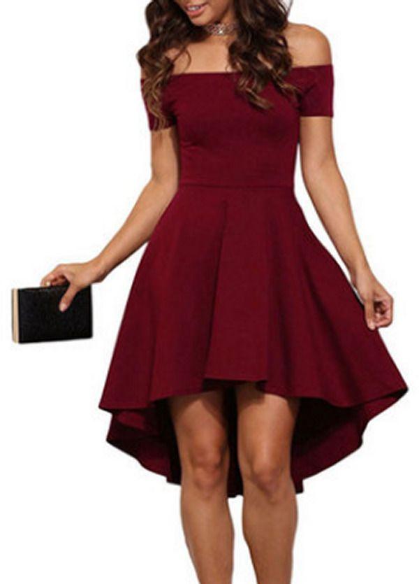 Women lone shoulder dress high low hem party skirt fashion trendy wear red #unbranded