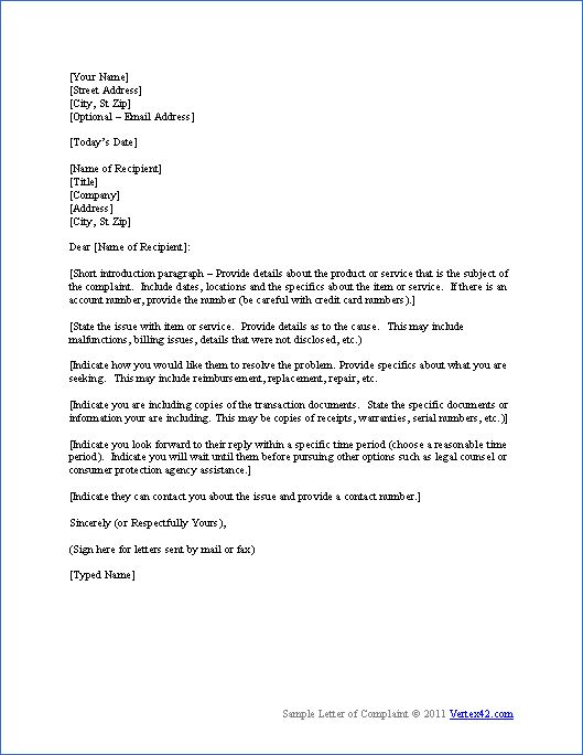 Download The Complaint Letter Template From Vertex42 Com
