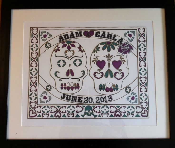 Skull Wedding Guest Sheet:  I made this with layers of bristol board paper that I designed and cut out. Behind the cut outs I colored in the wedding colors. The outside of print is for the guests to sign.