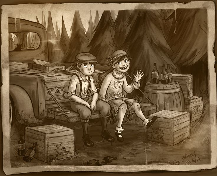 """1930s Gravity Falls AU where Uncle Stan's a bootlegger who runs a still, and maybe a moldy little sideshow as well. When the kids move in one summer he soon has them running rum all through the valley (vintage car chases with the deputies optional, but encouraged) and in their spare time, they investigate all the usual bizarre goings-on in Gravity Falls. She also thought maybe Li'l Gideon would be some kind of tent revival preacher boy, whom Mabel kept having to fend off."""