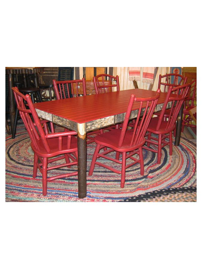 the slatted top farm table is a great rustic piece to have family and friends gather around for dinner drinks or games