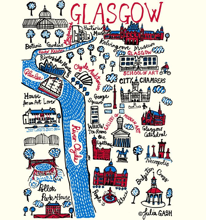 The Glasgow in Julia's Cityscape is one that combines the confidence of Victorian British architecture with the unique creativity of the city's architectural genius: Rennie Macintosh. Civic buildings such as the City Chambers, the Kelvingrove Museum, Gallery of Modern Art and the People's Palace contrast with 21st architectural achievements including the Riverside Museum and the Clyde Auditorium.