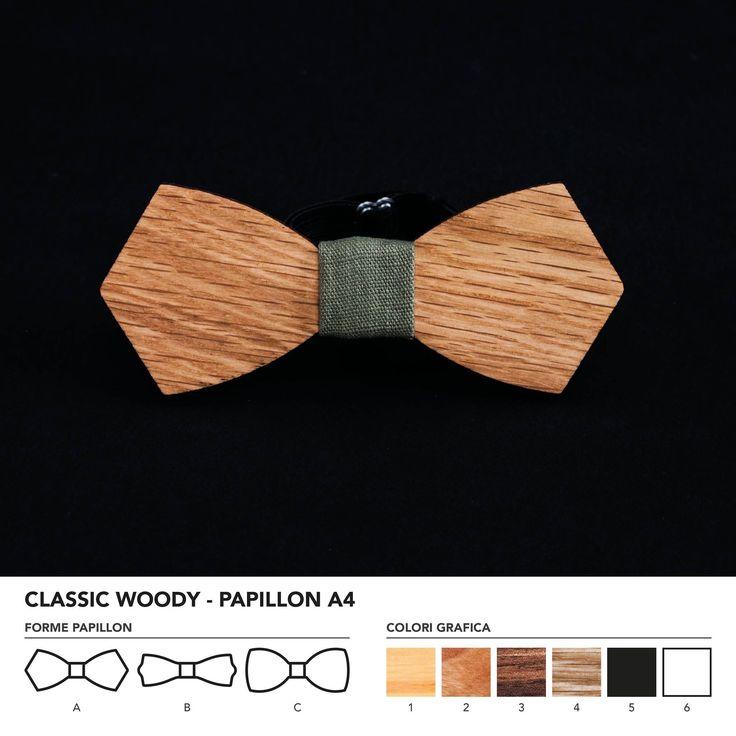CLASIC WOODY - PAPILLON A4  Papillon in legno di rovere. Nodo centrale personalizzabile in base alle vostre esigenze e alle nostre disponibilità.  N.B. Usando legno massello naturale ogni prodotto presenta diverse venature e sfumature di colore, rendendo così ogni papillon unico è diverso dagli altri.