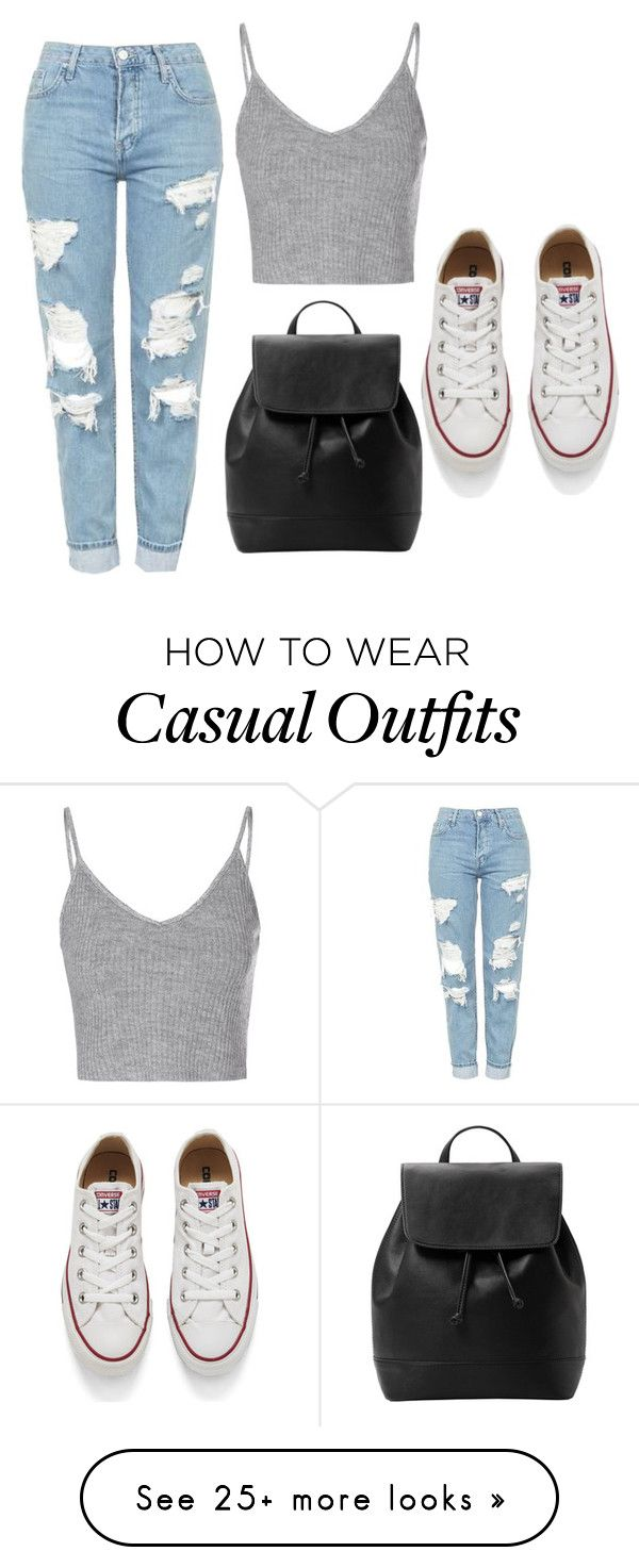 """Casual"" by ava-s on Polyvore featuring Topshop, Glamorous, Converse and MANGO"