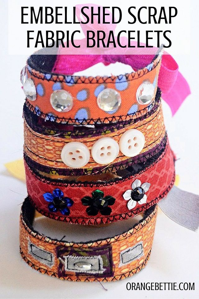 See how to make these easy embellished scrap fabric bracelets!