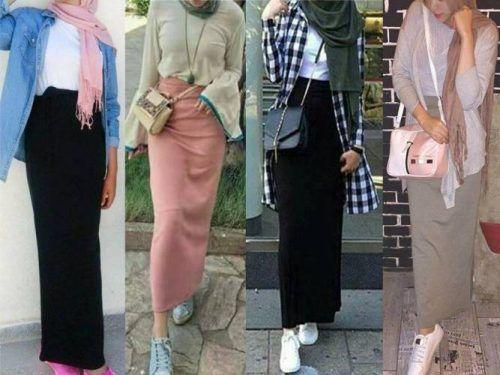 Pencil skirt with hijab-Winter Hijab fashion combinations – Just Trendy Girls
