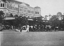 "Upon the start of the Japanese occupation of Singapore, 15.2.1942, it is commonly said that Japanese soldiers encountered the guests dancing one final waltz. During WWII, Raffles Hotel was renamed Syonan Ryokan, incorporating Syonan (""Light of the South""), the Japanese name for occupied Singapore, + ryokan, the name for a traditional Japanese inn. At the war's end, the hotel was used as a transit camp for prisoners of war. In 1987, the Singapore government declared it a National Monument."