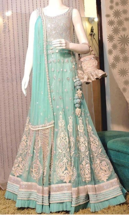 Blue and silver floor length anarkali