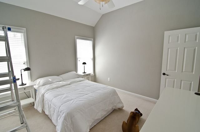 We went with Valspar Woodlawn Colonial Gray for the bedroom, and will do an accent wall with geometric wallpaper.