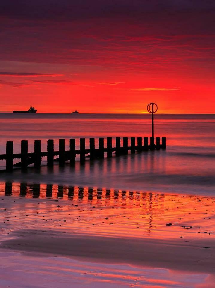 Red mornings at Aberdeen Beach, Scotland