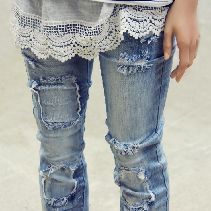 Hayward Patch Skinny Jean, Sweet Distressed Denim Jeans from Spool 72.   Spool No.72