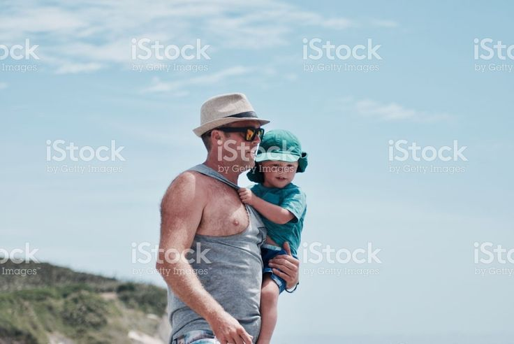 Father and Child walking on the Beach. royalty-free stock photo