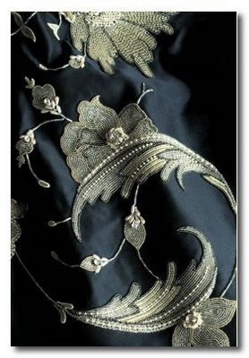 Beaumont and Fletcher Fabrics with embroidery embellishments - need to do this myself to fabrics in projects....